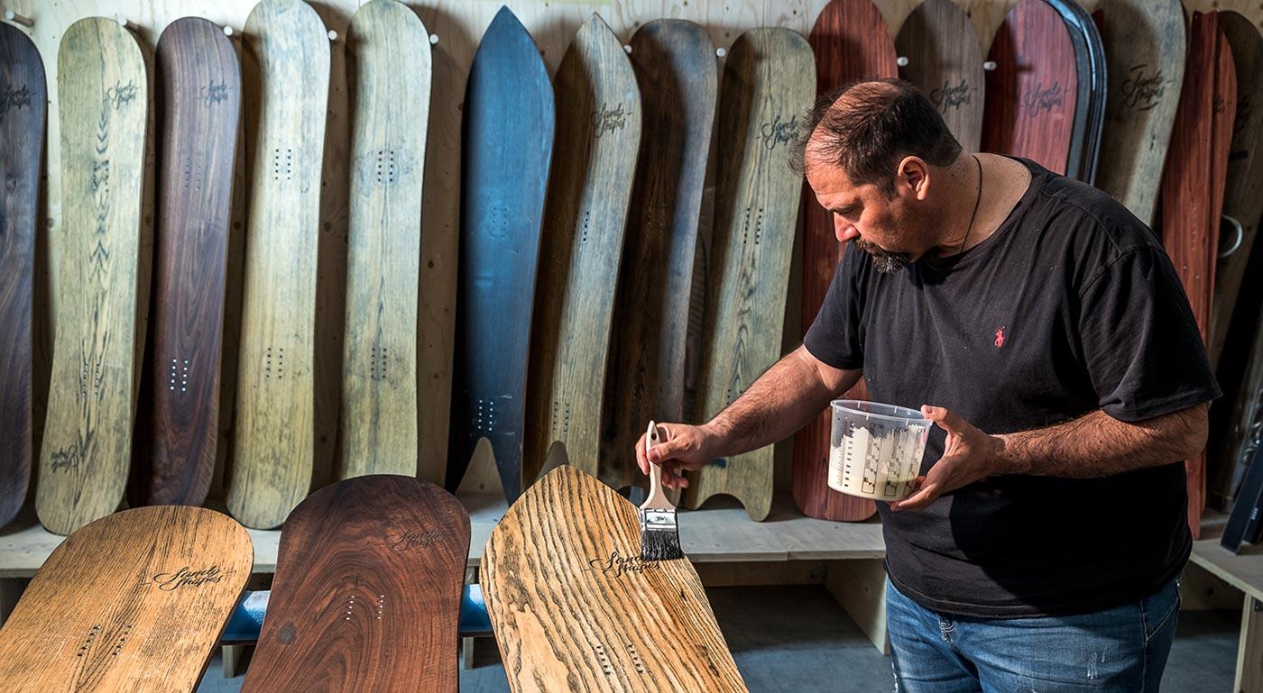 handmade wooden snowboards