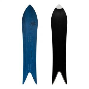 Sandy shapes Magnifica swallow-tail freeride snowboard in blue wood