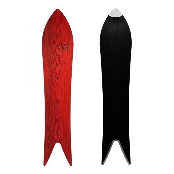Magnifica - snowboard a coda di rondine in legno rosso