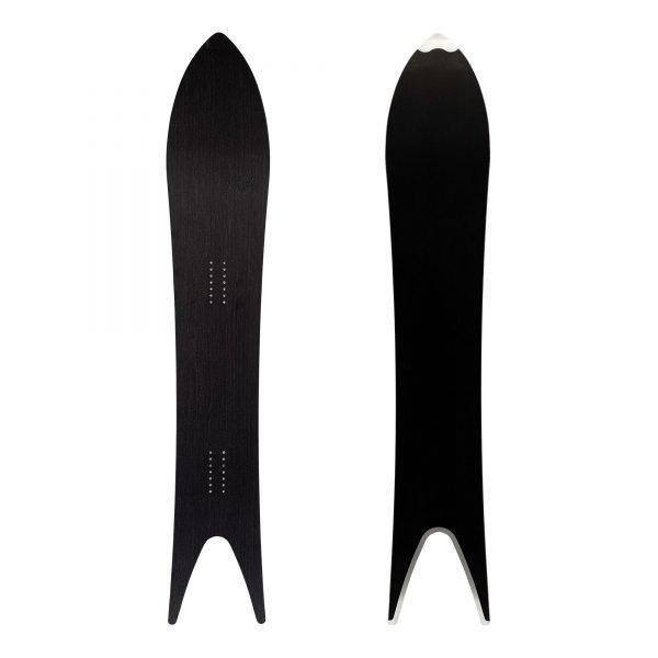 Regina- Snowboard a coda di rondine in legno nero e argento