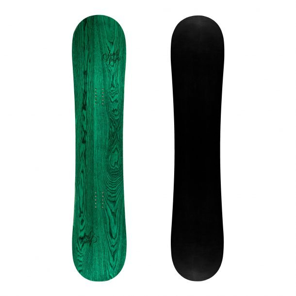 Sandy shapes Ribelle, twin-tip freestyle snowboard in green wood