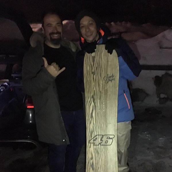 sandy shapes snowboard customized for Valentino rossi with number 46