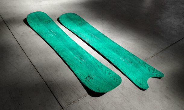 sandy shapes snowboard zingara and egoista in green ash finish
