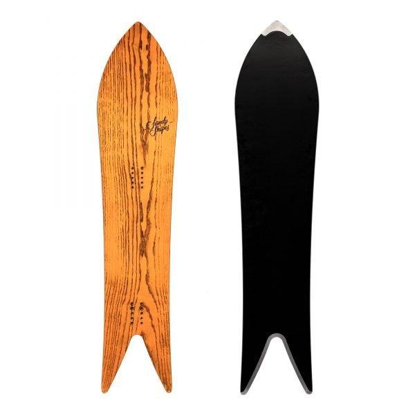 Divina snowboard a coda di rondine in legno di frassino arancione