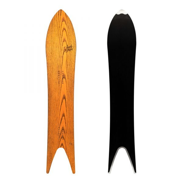 Regina- Snowboard a coda di rondine in legno arancione