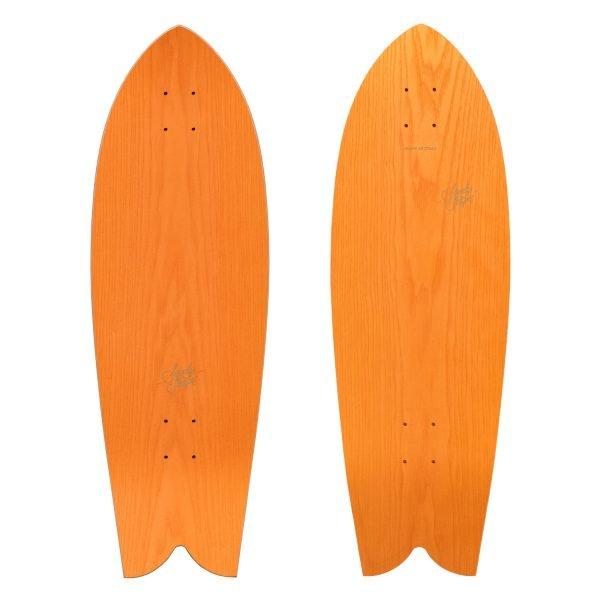 Tropicale: fish tail surfskate, in legno arancio