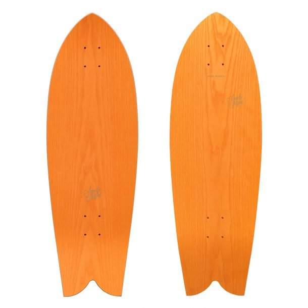 Tropicale: sustainable fish tail surfskate in orange ash wood