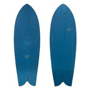 Tropicale: fish tail surfskate, in legno blu