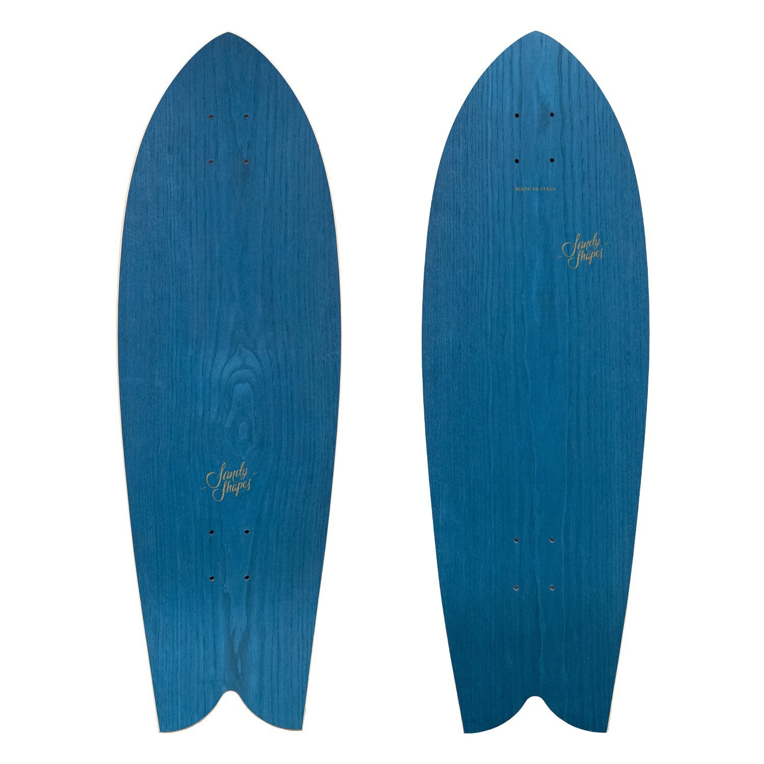Tropicale: sustainable fish tail surfskate in blue ash wood