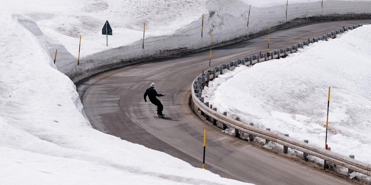 Surfskating on a mountain road